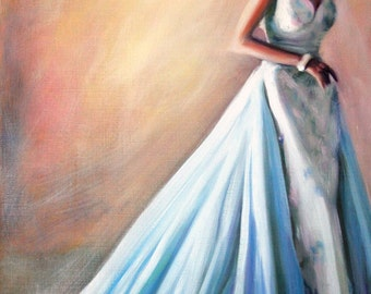 Original Oil Painting: Vintage Fashion Fifties Satin Evening Gown