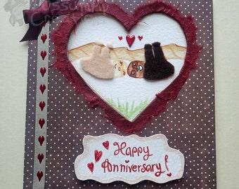 Handmade/Painted Fluffy Sloth Anniversary Card
