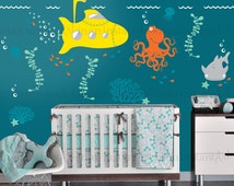 Wall Mural Decals - Ocean Theme | Baby Nursery, Children's Room Interior Design | Easy Squeegee Application | In An Instant Art 037