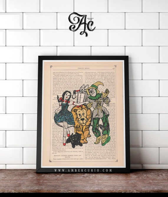 We're Off To See the Wizard Original Print on an Unframed Upcycled Bookpage