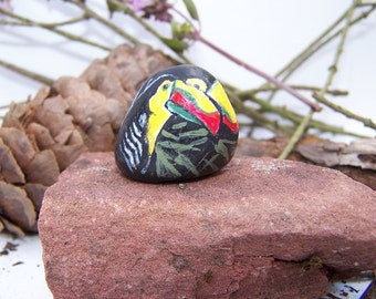 Toucans, painted rock, birds, fairy garden miniatures, fairy garden accessories, terrarium, dolls & miniatures, earthspalette
