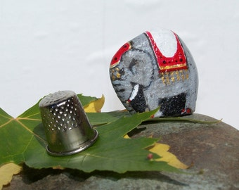 Circus Elephant, painted rock, elephants, fairy garden miniatures, fairy garden accessories, dolls & miniatures earthspalette