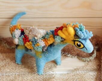 Big coral reef dragon Needle felted dragon toy Fantasy dragon figurine