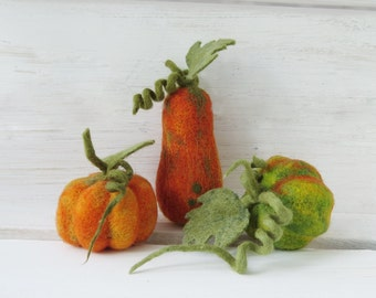 Set of Three needle felted pumpkins, Halloween Thanksgiving home decor, rustic decorations