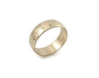 Textured wedding ring. medium width wedding band. 14k yellow gold ring.  wedding band. Matte wedding ring (gr9429-1511).