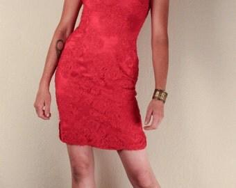 60's Red Lace CHEONGSAM MICRO DRESS // Tight Bodycon // Size Small