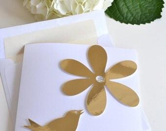 GREETING CARD: Modern Gold-foiled Bird & Flower Petal