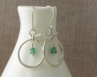 Modern Emerald Birthstone Earrings, May Birthstone Jewelry, Natural Emerald Silver Earrings, Emerald Green Earrings, E863