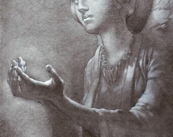 Postcard - Cast Shadows - angel - mini art print of a charcoal drawing