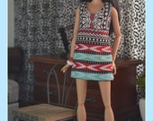 Batik V-neck Shift Dress for 1:6 Fashion Dolls