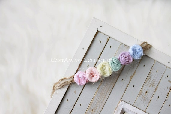 PASTEL COLLECTION ~ Rainbow Baby Headband, Rainbow Headband, Newborn Headband, Newborn Tieback, Newborn Flower Crown, Newborn Photo Prop