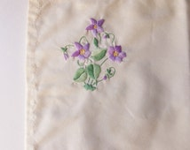 Pale Yellow Embroidered Baby Pillow Sham, Baby's Pillow Cover with Lavender Violets