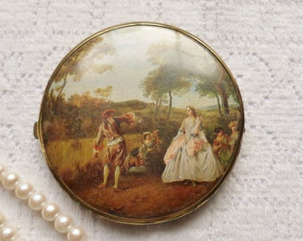 Large Double Mirror Compact, French Renaissance Mirror Compact from W. Germany