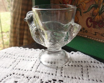 French Hen Egg Cup, Single Egg Cup from France, Clear Pressed Glass Egg Holder