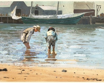 Winslow Homer Watercolor Reproductions.  Boys Wading, 1873. Fine Art Print.