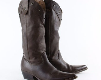 Vintage Brown Real Leather Cowboy Boots Festival Womens >> UK 3 // EU 36 // US 5
