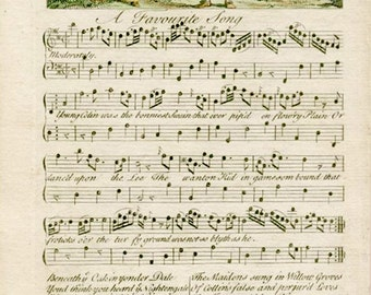 Antique Music Song Sheet. Original Circa 1750 Music Sheet for Vauxhall Gardens. Decorative Handcolored image. Regency Music by Dr Arne.