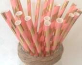 Coral & Gold Foil Straws ~ Metallic Gold Straws ~ Paper Straws ~ Cocktail Straws ~ Drinking Straws