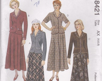 Jacket & Long Skirt Pattern McCalls 8421 Sizes 4 6 8 Uncut