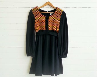 vintage 60s / 70s black woven wool dress xs small