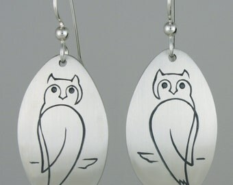 """Calligraphic Owl Earrings, Sterling Silver Oval Discs, 1 3/4"""" long"""