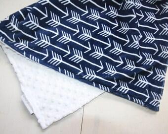 Arrow Baby Blanket, Baby Boy MINKY Blanket, Minky Baby Blanket, Baby Boy Blanket, Navy Blue and White Blanket, Ready to Ship Baby Blanket