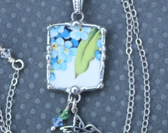 Necklace, Broken China Jewelry, Broken China Necklace, Forget Me Not China , Hummingbird Charm, Sterling Silver