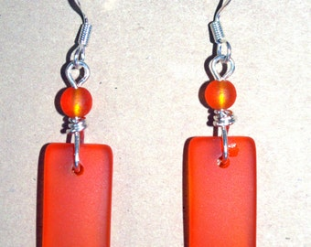 Beach Glass Earrings in a Tropical Tangerine! FREE SHIPPING