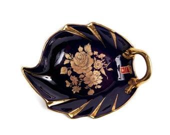 Vintage Halbach Geschenke ECHT KOBALT Cobalt Blue Gold Leaf Shaped Dish Candy Bowl Made in Germany