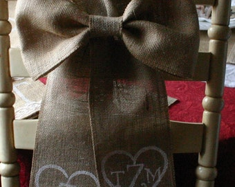 Burlap and lace Bride and Groom chair bows, SALE, Monogramed