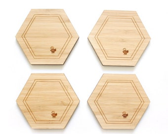 Honeycomb drink coasters (Set of 4) - Hexagon coasters - minimal - honeycomb coasters - wooden coasters house warming gift