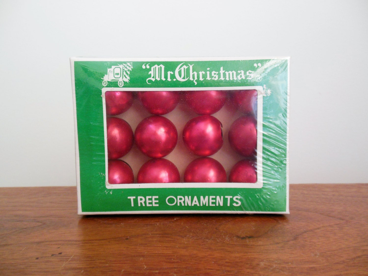 Red glass ball ornaments - Miniature Red Glass Mr Christmas Tree Ornaments Unused Box Of 11 Balls 1 Inch Made In