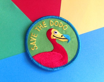 Save The Dodo Iron On Patch, Cute Embroidered Patch, hello DODO, Funny Bird Patch, Round Sew On Patch, Dodo Bird Patch, Extinct Bird Patch