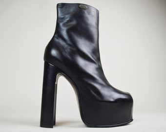 90s Grunge Goth Immaculate Black Leather El Dantes Covered Platform Mega Ankle Boots UK 5.5 / US 8 / EU 38.5