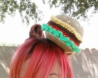 Crocheted Cheeseburger Fascinator