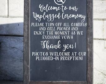 Unplugged Wedding Decal, Wedding Vinyl, DIY Wedding Ceremony Sign, Wedding Sticker, No Photos Please, DIY Bride, Unplugged Ceremony Sign