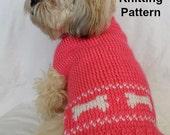 Cute dog sweater knitting pattern - PDF, small dog sweater, dog bones instant download