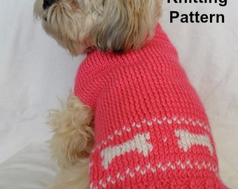 Cute dog sweater knitting pattern - PDF, small dog sweater, dog bones instant download