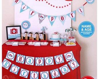Airplane Party Package Personalized FULL Collection Set  - PRINTABLE DIY - PS818CA1x