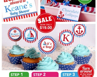 Nautical Baby Shower Package Personalized FULL Collection Set - PRINTABLE DIY - BS826CA1x