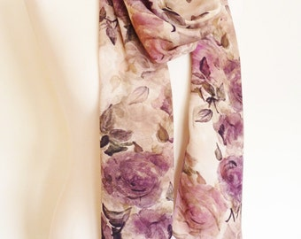 Floral Silk Scarf, Hand Painted. Botanical print. Rich Mauve and Purple Roses. Luxury Gift. Unique. Classic. Shawl. Spring. Country style