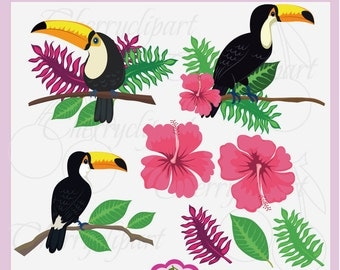 Toucan Clip Art Set,Tropical Flowers,Tropical plant leaves,Tropical Digital Paper Papers Pack AN057 -Personal and Commercial Use