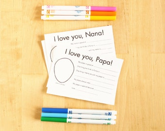 I love you Nana and Papa printable cards - Gifts for Nana Personalized Grandparent Gifts for Papa Kids Craft Nana Gift