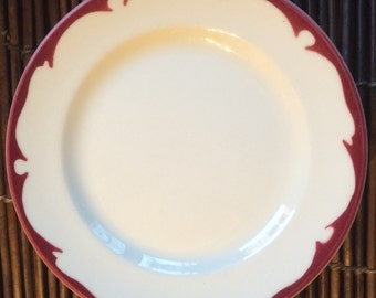 Vintage Buffalo China, Four Dessert Plates with Red Crest Border ca. 1960s