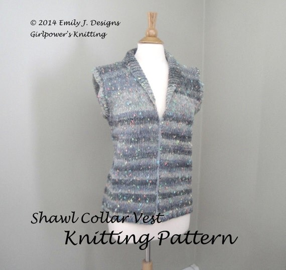 Knitting Pattern Vest Bulky Yarn : Items similar to Shawl Collar Vest PDF Knitting Pattern ...