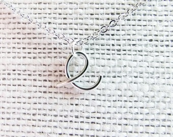 Letter E Necklace, Silver Initial Necklace, Cursive Letter Necklace, Letter Necklace, Initial Necklace