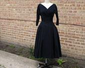 Vintage 50s Cocktail Dress - Black Party Dress, 1950s Tea Length Gown AS-IS - SM