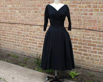 Vintage 50s Cocktail Dress - Black Party Dress, 1950s Tea Length Gown AS-IS - SM
