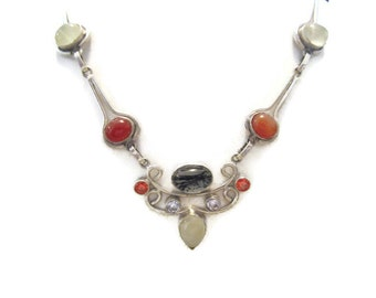 Vintage Sterling Multistone Necklace 17.5 inches