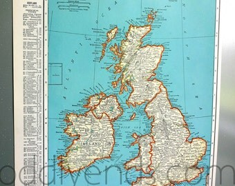 1939 British Isles Atlas Map